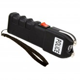 POLICE 928 - MAX VOLTAGE Heavy Duty Stun Gun - Rechargeable With LED Flashlight + Case, Black