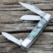 "2.75"" ABALONE INLAY SMALL TRIO 3 BLADE STOCKMAN FOLDING POCKET KNIFE COLLECTIBLE"