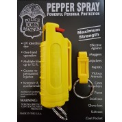 POLICE MAGNUM MACE PEPPER SPRAY 1/2oz YELLOW MOLDED KEYCHAIN & QUICK RELEASE
