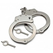 POLICE Double Lock Steel Metal Police Edition Professional Grade Handcuffs (Silver)