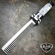 Automatic Push Button Folding Comb Switchblade Knife Looking Brush White Swirl