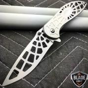 "8"" Razor Spider Tactical Spring Assisted Open Folding Pocket Knife Silver Web"