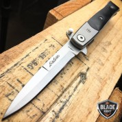 "7"" Italian Milano Wood Stiletto Spring Assisted Folding Pocket Knife Black"