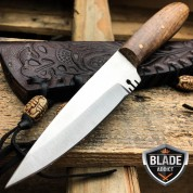 "6.75"" Full Tang Western Style Fixed Blade Trade Patch Knife Leather Sheath NEW"