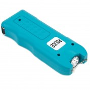 POLICE TW12 - MAX VOLTAGE Mini Stun Gun - Rechargeable With LED Flashlight & Police Siren Alarm - Blue