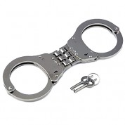 POLICE Heavy Duty Hinged Double Lock Steel Police Edition Professional Grade Handcuffs (Silver)