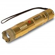 POLICE M12 - MAX VOLTAGE Metal Mini Stun Gun - Rechargeable With Bright LED Flashlight, Gold
