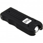 POLICE 628 - 58 Billion Mini Stun Gun - Rechargeable with Siren Alarm LED Flashlight, Black