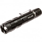 POLICE Stun Gun M12 - 53 Billion Metal Rechargeable with LED Tactical Flashlight, Black