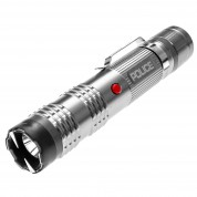 Police M12 - Aluminum Series Max Voltage Heavy Duty Mini Stun Gun - Rechargeable with Bright LED Tactical Light, Silver