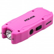 POLICE Stun Gun 1901 - Max Voltage Mini USB Rechargeable with LED Flashlight, Pink