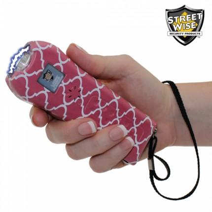 Streetwise Ladies' Choice Stun Gun Rechargeable With LED Flashlight Chevron Pattern Pink