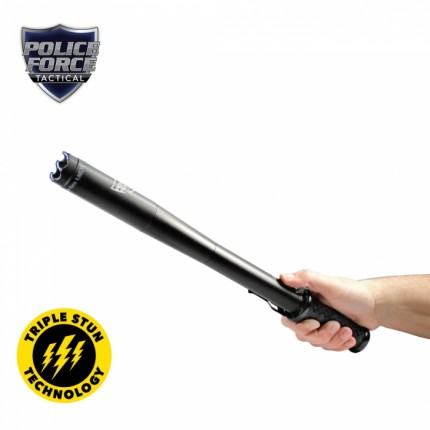 Police Force Tactical 9M Stun Gun Baton With LED Flashlight - Rechargeable