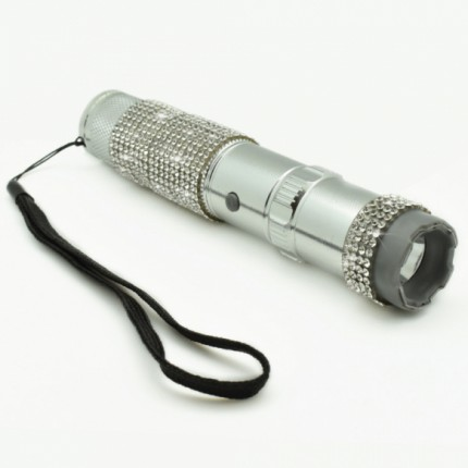 JOLT Rhine Stun Gun Flashlight Rechargeable - Silver