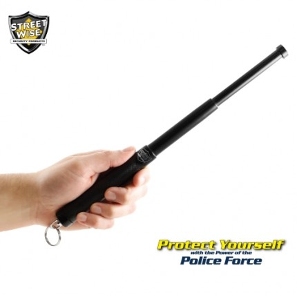 "Police Force 12"" Expandable Steel Baton w/ Key Ring"