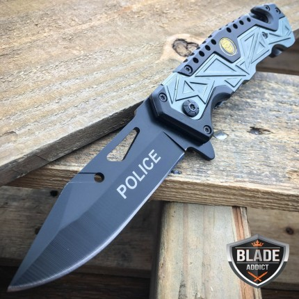"8"" POLICE Spring Assisted Open Tactical Rescue Folding Pocket Knife Black NEW"