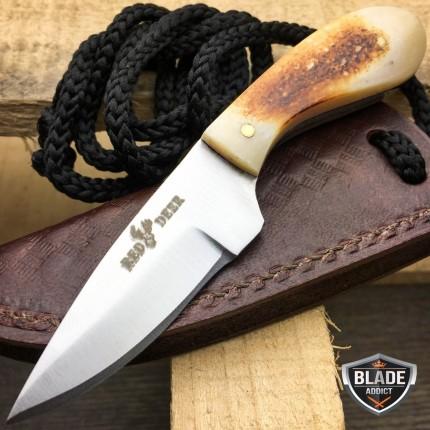 "4.5"" Hunting Fixed Blade Full Tang Neck Skinning Knife Bone + Leather Sheath New"