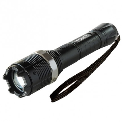 POLICE Stun Gun 8810 - 58 Billion Metal Heavy Duty Rechargeable with LED Zoom Tactical Flashlight