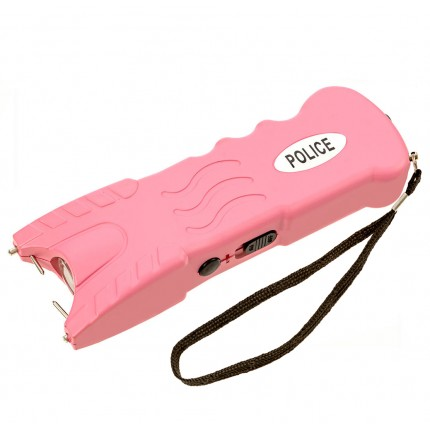 POLICE 916 - MAX POWER Heavy Duty Stun Gun With Safety Disable Pin & LED Flashlight - Rechargeable, Pink