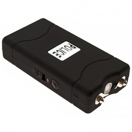 POLICE 800 - MAX POWER Mini Stun Gun With LED Flashlight - Rechargeable, Black