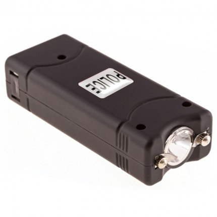 POLICE 800 - EXTREME VOLTAGE - Micro Stun Gun Rechargeable With LED Flashlight Black