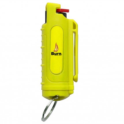 BURN 0.5 OZ PEPPER SPRAY HARD SHELL With CASE KEYCHAIN - YELLOW