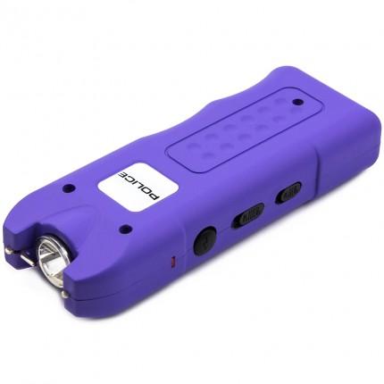POLICE Stun Gun 628 - Max Volt Rechargeable with Siren Alarm & LED Flashlight, Purple