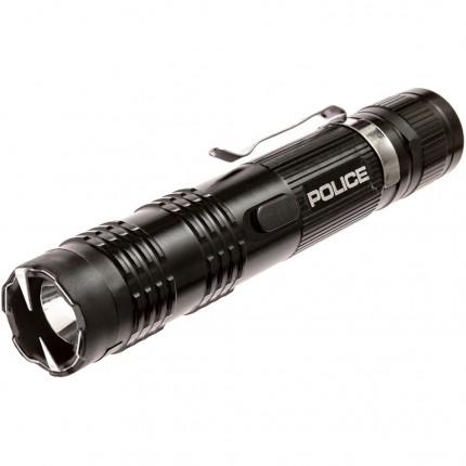 POLICE Stun Gun M12 - 53 Billion Metal Rechargeable with LED Tactical Flashlight, Black