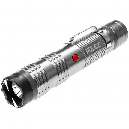 POLICE Stun Gun M12 - 53 Billion Metal Rechargeable with LED Tactical Flashlight, Silver