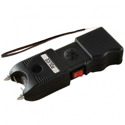 POLICE TW10 - MAX POWER Heavy Duty Stun Gun With LED Flashlight & Ear-Piercing Police Siren Alarm - Rechargeable