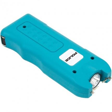POLICE Stun Gun 628 - Max Volt Rechargeable with Siren Alarm & LED Flashlight, Blue