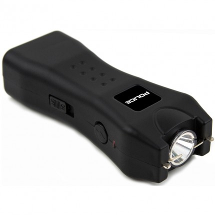 POLICE Stun Gun 618 - 53 Billion Rechargeable with LED Flashlight, Black