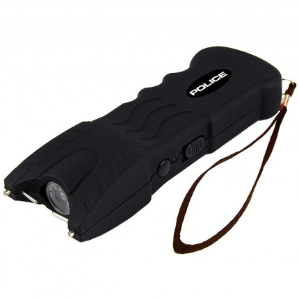 POLICE Stun Gun 916 - 53 Billion Rechargeable with Safety Disable Pin LED Flashlight, Black