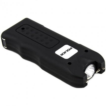 POLICE Stun Gun 628 - Max Volt Rechargeable with Siren Alarm & LED Flashlight, Black