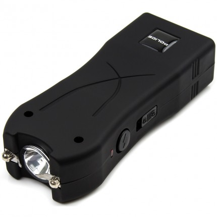 POLICE Stun Gun 398 - Max Voltage Mini Rechargeable With LED Flashlight, Black